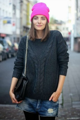 How to wear: black cable sweater, navy ripped denim shorts, black leather satchel bag, hot pink beanie