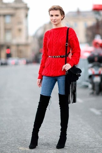 How to wear: red cable sweater, blue skinny jeans, black suede over the knee boots, black fringe suede crossbody bag