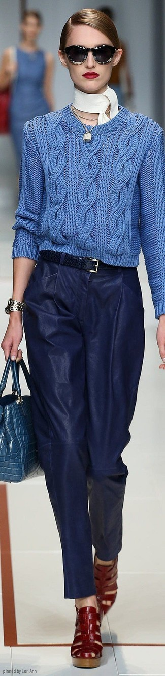 How to wear: blue cable sweater, navy leather wide leg pants, red leather gladiator sandals, blue snake leather satchel bag