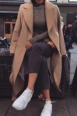 How to wear: camel coat, dark brown turtleneck, black skinny jeans, white athletic shoes
