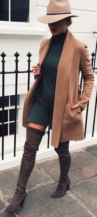 Women's Camel Coat, Dark Green Swing Dress, Dark Brown Suede Over The Knee Boots, Beige Wool Hat