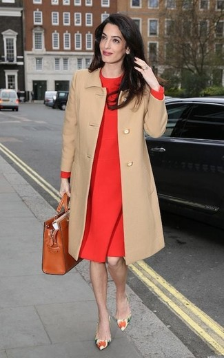 How to wear: camel coat, red sheath dress, multi colored floral leather pumps, tobacco leather tote bag