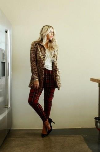 How to wear: camel leopard coat, white crew-neck t-shirt, red plaid dress pants, navy suede pumps