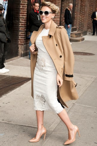 Go for a classic style in a camel coat and J.Crew Sam Sunglasses. Tan leather pumps complement this outfit quite nicely. So if you're looking for a look that's chic but also totally spring_friendly, this just might be it.