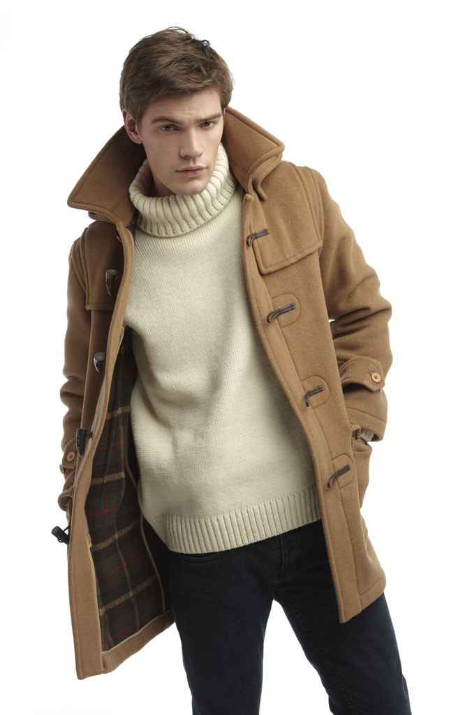 Men's Camel Duffle Coat, Beige Turtleneck, Black Jeans | Men's Fashion