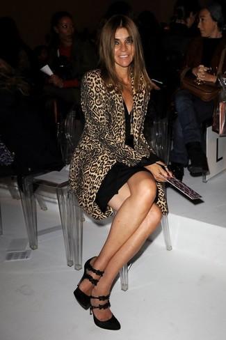 How to wear: camel leopard coat, black bodycon dress, black suede pumps