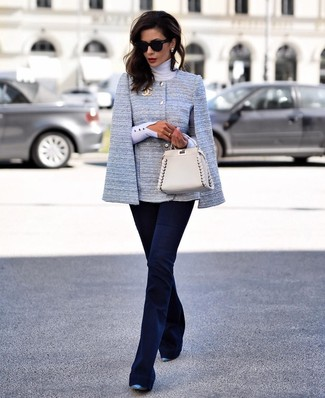 How to wear: light blue cape blazer, white turtleneck, navy flare pants, blue leather pumps