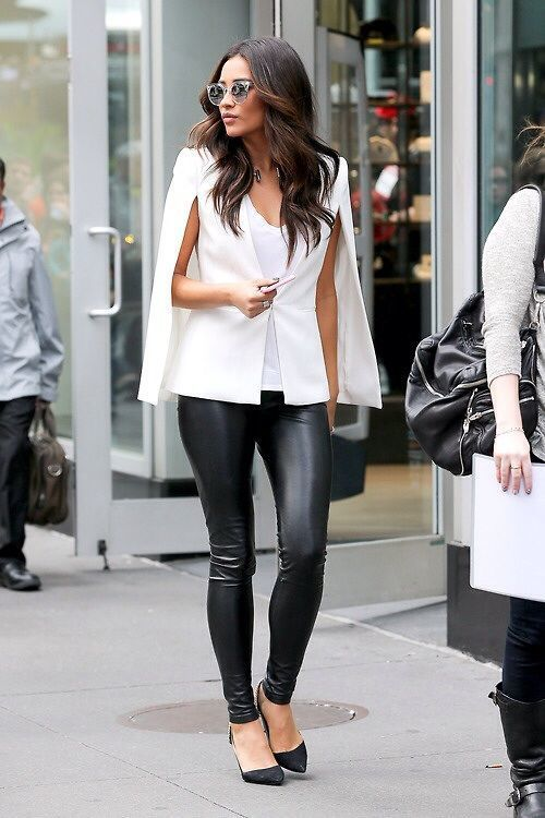 Shay Mitchell wearing White Cape Coat, White Tank, Black Leather ...