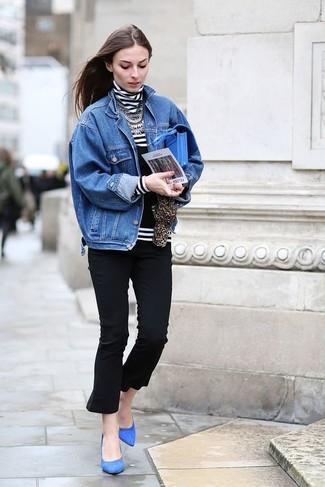 How to wear: blue suede pumps, black capri pants, white and black horizontal striped turtleneck, blue denim jacket