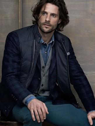 How to wear: blue denim shirt, grey cardigan, navy plaid blazer, black gilet