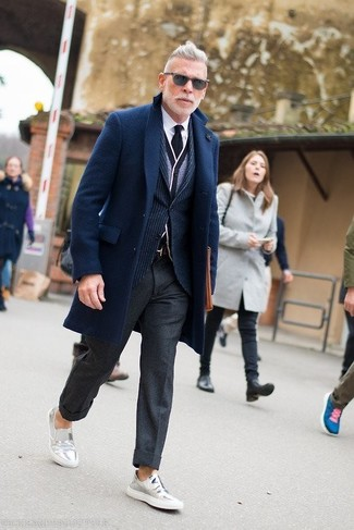 How to wear: white dress shirt, grey cardigan, navy vertical striped blazer, navy overcoat