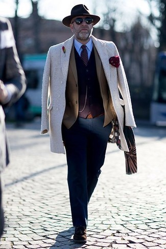 How to wear: light blue dress shirt, dark brown cardigan, brown blazer, beige overcoat