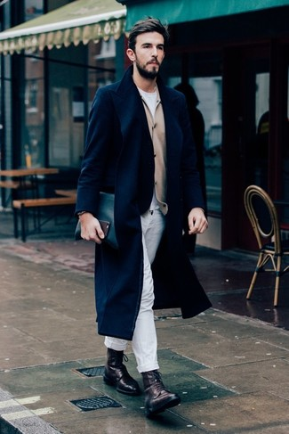 How to Wear Dark Brown Leather Casual Boots For Men: This combo of a navy overcoat and white chinos is a lifesaver when you need to look casually refined in a flash. This outfit is completed really well with dark brown leather casual boots.