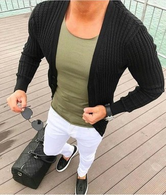 How to wear: black cardigan, olive crew-neck t-shirt, white chinos, black leather tassel loafers
