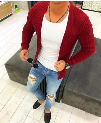 How to wear: red cardigan, white crew-neck t-shirt, blue ripped skinny jeans, black leather tassel loafers