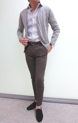 How to wear: grey cardigan, grey vertical striped dress shirt, dark brown chinos, dark brown suede loafers