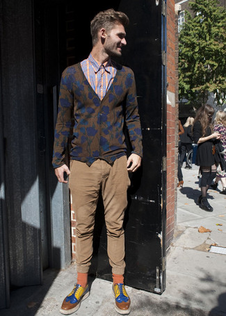 How to wear: brown floral cardigan, orange plaid long sleeve shirt, brown chinos, multi colored derby shoes