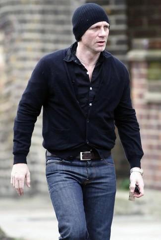 Daniel Craig wearing Black Cardigan, Black Long Sleeve Shirt, Navy Jeans, Black Beanie