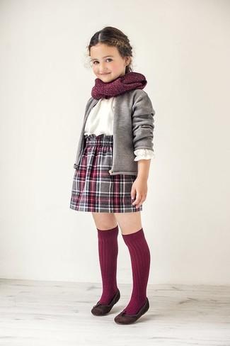 Girls' Grey Cardigan, White Long Sleeve Shirt, Grey Plaid Skirt, Dark Brown Ballet Flats