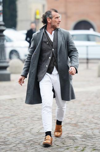 How to wear: white long sleeve shirt, charcoal cardigan, charcoal waistcoat, grey overcoat