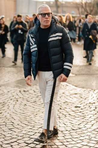 How to Wear a Black Crew-neck Sweater For Men: Consider teaming a black crew-neck sweater with white cargo pants and you'll be ready for wherever this day takes you. If you want to easily amp up your ensemble with a pair of shoes, why not add a pair of black leather derby shoes to the mix?