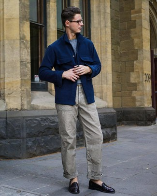 How to wear: dark purple leather loafers, grey cargo pants, light blue crew-neck sweater, navy wool shirt jacket