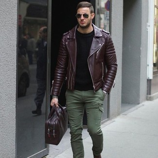 How to wear: burgundy leather messenger bag, olive cargo pants, black crew-neck t-shirt, burgundy quilted leather biker jacket