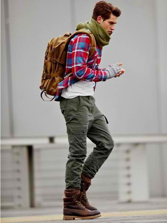 How to wear: burgundy leather casual boots, olive cargo pants, white crew-neck t-shirt, red plaid long sleeve shirt