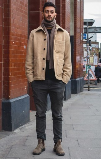 How to Wear Brown Suede Chelsea Boots For Men: Infuse a classy touch into your current lineup with a tan pea coat and charcoal cargo pants. Rounding off with brown suede chelsea boots is an effortless way to add some extra flair to your ensemble.