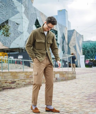 How to wear: tobacco suede loafers, khaki cargo pants, white crew-neck t-shirt, olive wool shirt jacket
