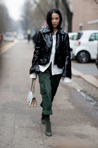 How to wear: dark green suede ankle boots, dark green cargo pants, white dress shirt, black leather biker jacket