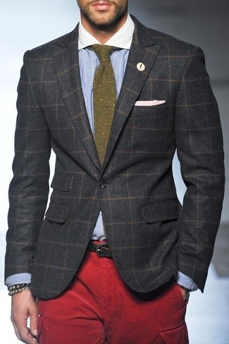 How to wear: olive wool tie, red cargo pants, light blue vertical striped dress shirt, charcoal check wool blazer