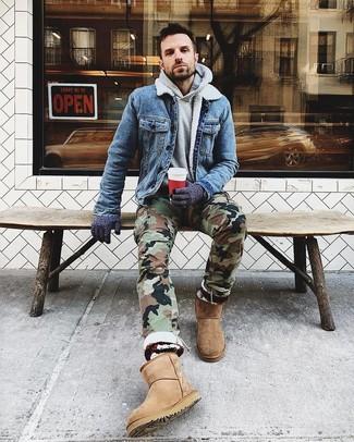 How to wear: tan uggs, olive camouflage cargo pants, grey hoodie, blue denim jacket