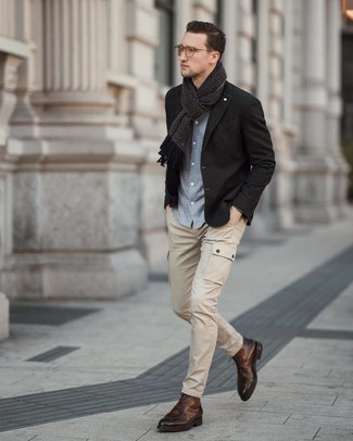 How to wear: brown leather dress boots, beige cargo pants, light blue chambray long sleeve shirt, black blazer