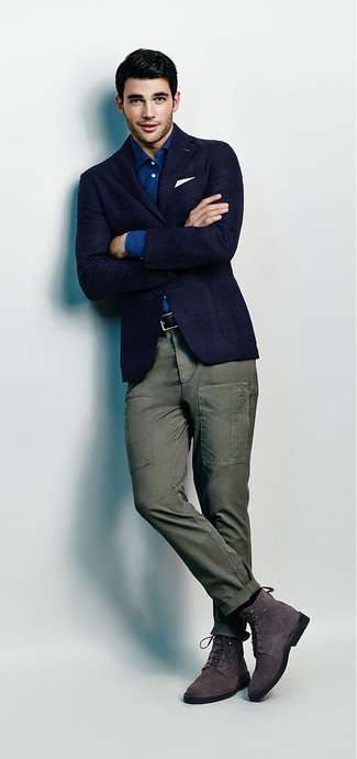 How to wear: charcoal suede dress boots, olive cargo pants, blue chambray long sleeve shirt, navy plaid blazer