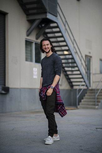 How to wear: grey low top sneakers, black cargo pants, red and navy plaid long sleeve shirt, charcoal crew-neck sweater