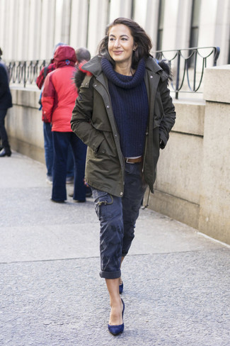 How to wear: navy suede pumps, navy cargo pants, navy shawl-neck sweater, olive parka