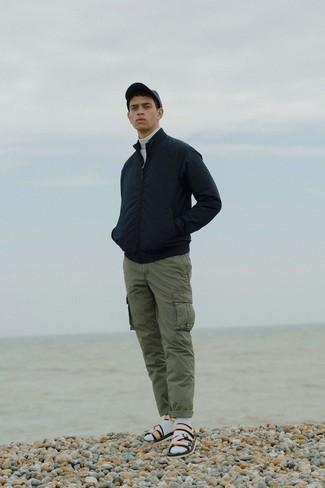 How to wear: beige leather sandals, olive cargo pants, white turtleneck, black bomber jacket