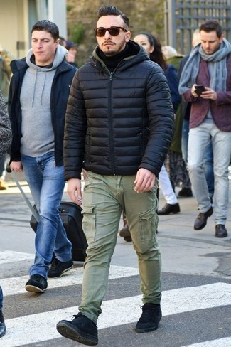 How to Wear a Navy Puffer Jacket For Men: For a casually dapper look, consider wearing a navy puffer jacket and olive cargo pants — these items fit really well together. And if you want to instantly dress down this look with one piece, add a pair of black canvas low top sneakers to your look.