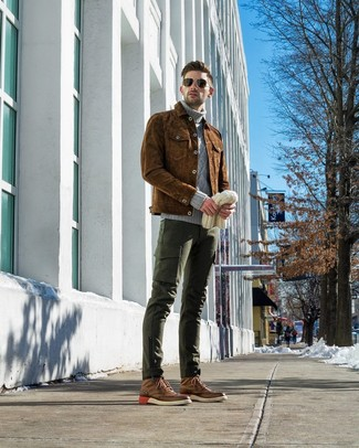 Men's Brown Leather Brogue Boots, Dark Green Cargo Pants, Grey Knit Turtleneck, Brown Suede Shirt Jacket