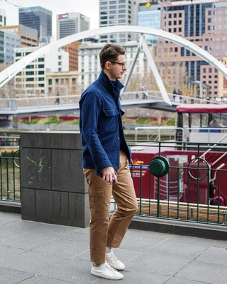 How to wear: white low top sneakers, khaki cargo pants, navy turtleneck, navy wool shirt jacket