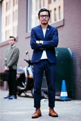 How to Wear Clear Sunglasses For Men: If you're after a casual but also on-trend ensemble, reach for a blue suit and clear sunglasses. To bring a bit of zing to this ensemble, add a pair of tobacco leather casual boots to your ensemble.