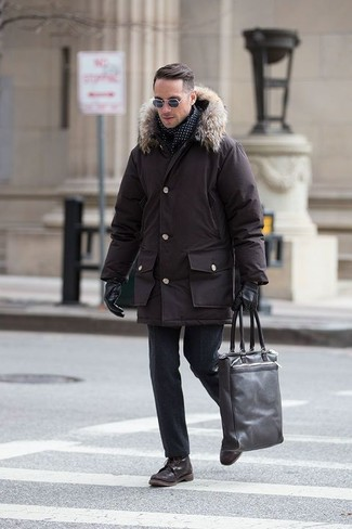 How to wear: dark brown leather tote bag, dark brown leather casual boots, black wool dress pants, dark brown parka