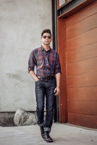 How to Wear Black Leather Casual Boots For Men: If you're on the lookout for a casual and at the same time seriously stylish ensemble, dress in a navy and red plaid long sleeve shirt and navy jeans. Black leather casual boots are an effective way to give a sense of polish to this outfit.