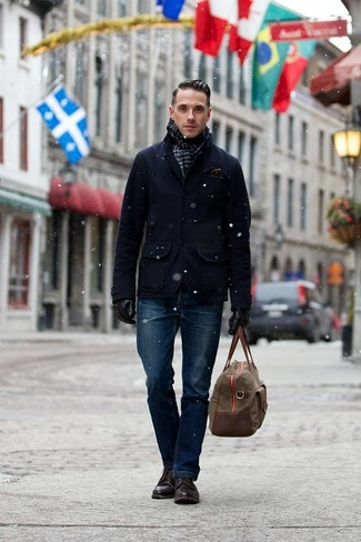 How to Wear Dark Brown Leather Casual Boots For Men: You'll be amazed at how very easy it is for any guy to put together this casually classic look. Just a navy pea coat and navy jeans. Complement this ensemble with a pair of dark brown leather casual boots and off you go looking incredible.