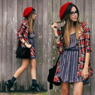 How to wear: navy print casual dress, red plaid dress shirt, black leather ankle boots, black studded suede crossbody bag