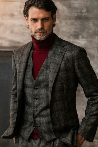 How to wear: charcoal plaid wool blazer, charcoal plaid wool waistcoat, burgundy turtleneck, charcoal plaid wool dress pants
