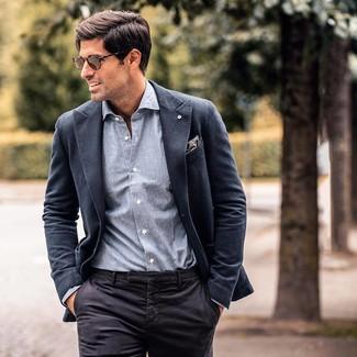 How to wear: charcoal blazer, grey chambray long sleeve shirt, black dress pants, grey paisley pocket square
