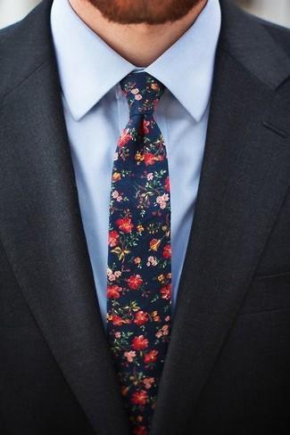 How to wear: charcoal blazer, light blue dress shirt, navy floral tie