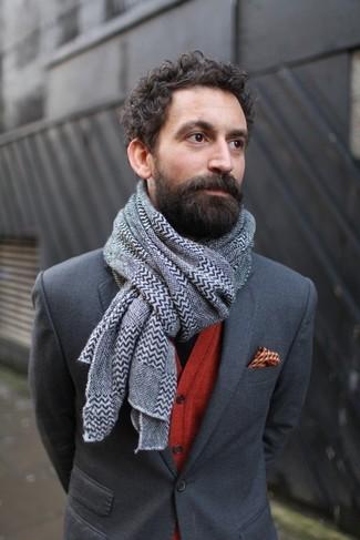 How to wear: charcoal blazer, red cardigan, orange print pocket square, grey chevron scarf